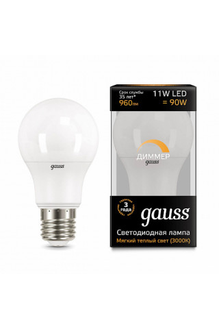 Лампа диммируемая светодиодная Gauss 102502111-D Е27 11W 3000K