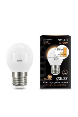 Лампа диммируемая светодиодная Gauss 105102107-S Е27 7W 3000K