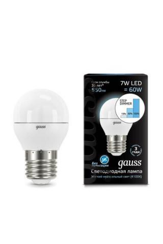 Лампа диммируемая светодиодная Gauss 105102207-S Е27 7W 4100K
