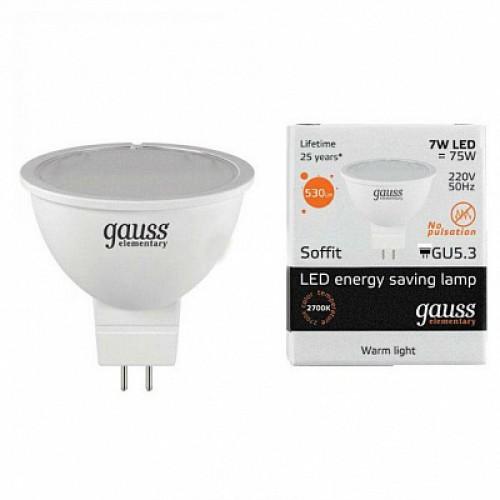 Лампа LED GAUSS 13517 MR16 GU5,3 7W 3000K Elementary, 13517
