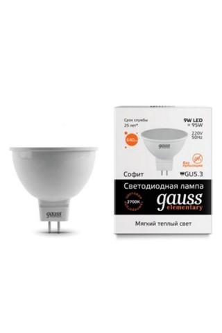 Лампа LED GAUSS 13519 MR16 GU5,3 9W 3000K Elementary