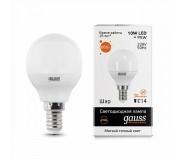 Лампа LED GAUSS 53110 E14 10W 3000K матовая,  53110