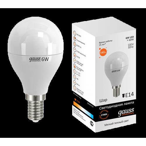 Лампа LED GAUSS 53116 E14 6W 3000K матовая