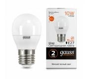 Лампа LED GAUSS 53210 E27 10W 3000K матовая,  53210