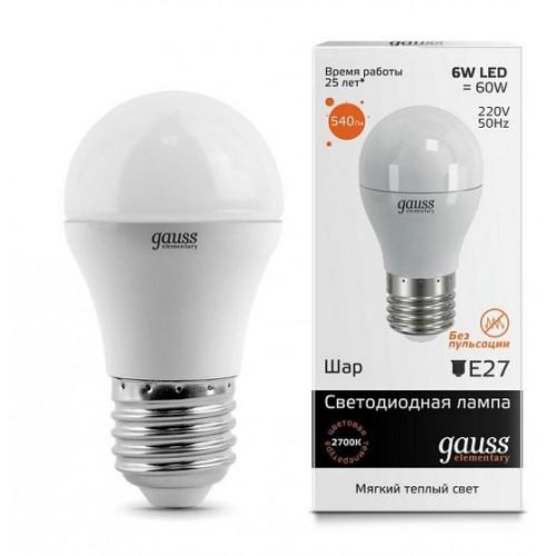 Лампа LED GAUSS 53216 E27 3000K матовая,  53216