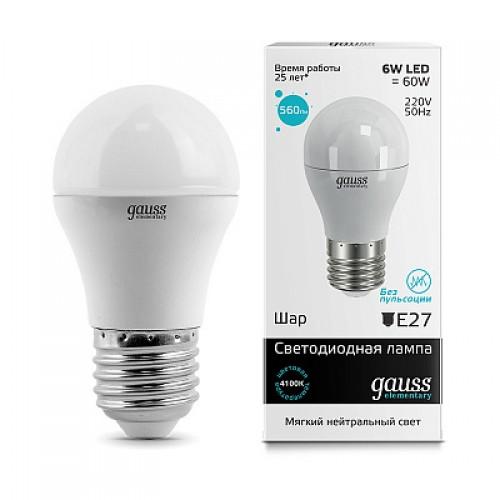 Лампа LED GAUSS 53226 E27 6W 4100K матовая,  53226
