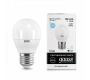 Лампа LED GAUSS 53238 E27 8W 6500K матовая,  53238