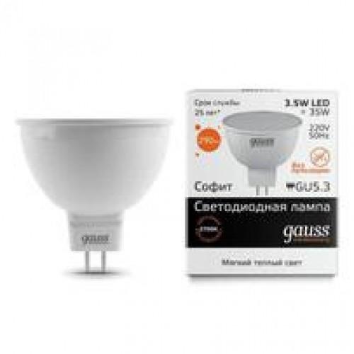 Лампа LED GAUSS 13514 MR16 GU5,3 3,5W 3000K Elementary, 13514