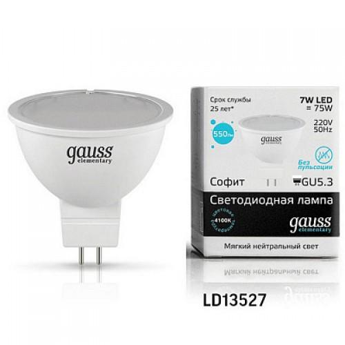 Лампа LED GAUSS 13527 MR16 GU5,3 7W 4100K Elementary