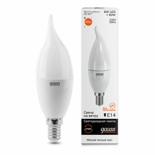Лампа LED GAUSS 34116 6W 3000K E14 Elementary Candle Tailed