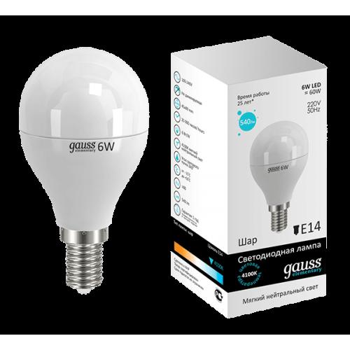 Лампа LED GAUSS 53126 E14 6W 4100K матовая
