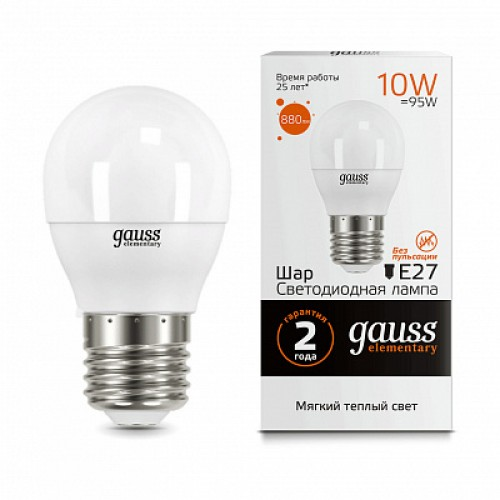 Лампа LED GAUSS 53210 E27 10W 3000K матовая,  53210