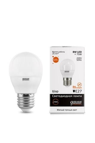 Лампа LED GAUSS 53218 E27 8W 3000K матовая