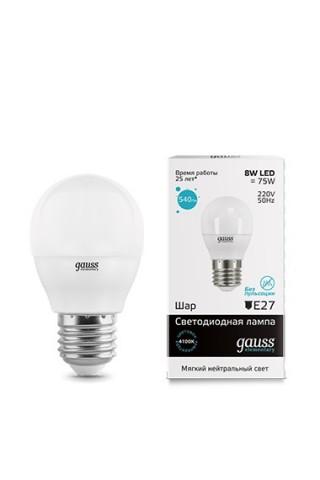 Лампа LED GAUSS 53228 E27 8W 4100K матовая